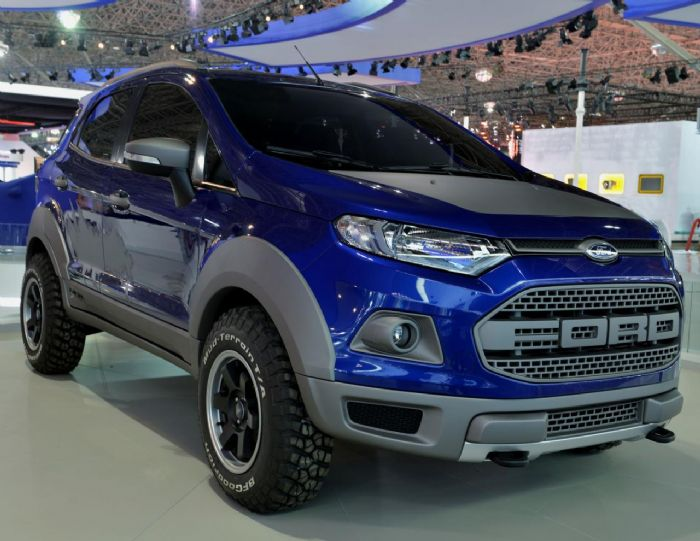 Dubbed The Ecosport Storm The Concept Features A Blue Storm Exterior With A Raptor Inspired Grille Plastic Body Cladding And Black Graphics